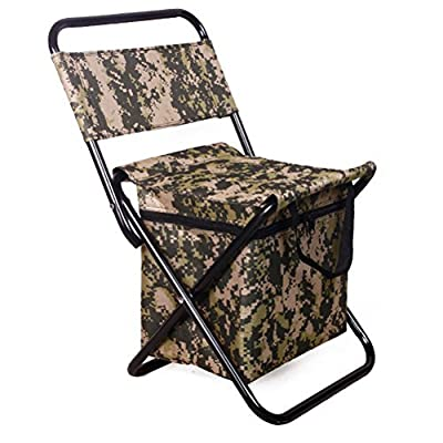 Swarokaren Camping Cooler Chair Outing Fishing Chair with Cooler Bag Pack Camo : Sports & Outdoors