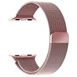 GEOTEL 38mm Milanese Loop Stainless Steel Bracelet Strap Band for Apple Watch Series 1 Series 2 Sport&Edition with Unique Magnet Lock(No Buckle Needed)(38mm-Rose Gold)