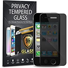Apple iPhone 4/4S Privacy Tempered Glass, 1-Pack Premium Anti-Spy Privacy Black Tempered Glass Screen Protector For Apple iPhone 4/4S