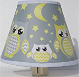 Yellow and Gray Owl Night Lights/Owl Woodland Forest Animal Nursery Decor with Stars and Moons (Yellow with Grey Owl Night Light)