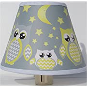 Yellow and Gray Owl Night Lights / Owl Nursery Decor with Stars and Moons (Yellow with Grey Owl Night Light)