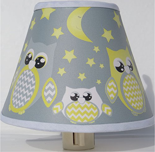 Yellow and Gray Owl Night Lights/Owl Woodland Forest Animal Nursery Decor with Stars and Moons (Yellow with Grey Owl Night Light) by Presto Night Lights
