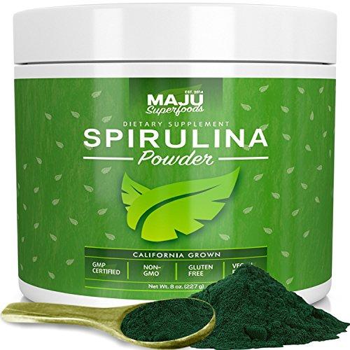 MAJU's Spirulina Powder - California Grown, Non-Irradiated, Non-GMO, Better than Chlorella, Pesticide-Free, Non Organic, Considered the Cleanest California Grown Spirulina