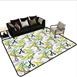 Retro,Bathroom Rug Kitchen Carpet 24'x 36' Colorful Scissors Tailoring Bathroom mats and Rugs