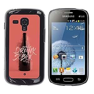 Paccase / SLIM PC / Aliminium Casa Carcasa Funda Case Cover - Drunk Sober Wine Bottle Pink Peach - Samsung Galaxy S Duos S7562