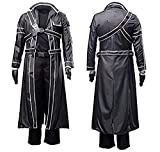 Another Me Sword Art Online Anime Kirito Cosplay PU Jacket Coat Costume Suit L Black