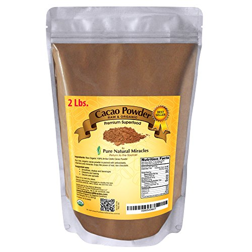 Pure Natural Miracles Raw Organic Cacao Powder, Best Unsweetened Cocoa, 100% USDA Certified (Chocolate Organic Sauce)