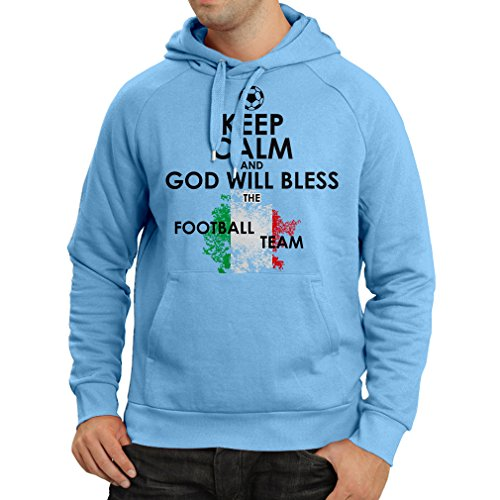 fan products of N4458H Hoodie Keep Calm and God will Bless the Italian national football team (Medium Blue Multicolor)
