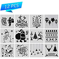 12 Pieces Christmas Stencils Journal Template Set with Xmas Tree,Snowflakes,Snowman,Reindeers Pattern for Card, Wood DIY Drawing Painting Craft Projects