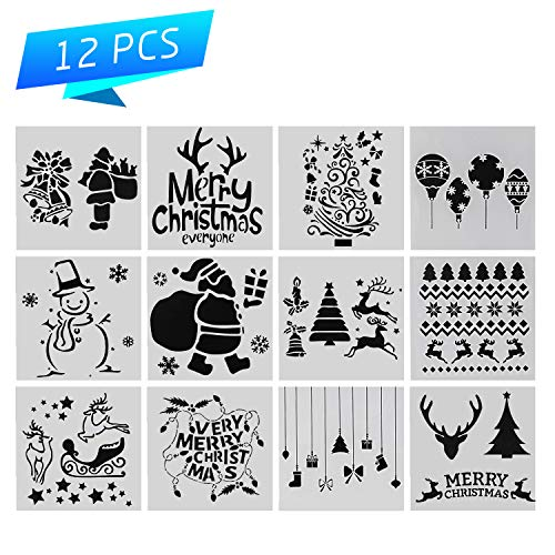 Christmas Stencil Set of 12 Painting Stencil, Laser Cut Painting Template for DIY Decor, Painting on Wood, Airbrush, Rocks and Walls Art ()