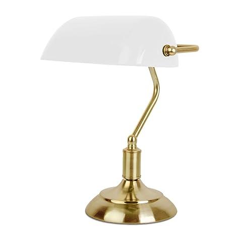 MiniSun - Lámpara de mesa táctil vintage/tradicional - de tipo banquero en latón antiguo y blanco