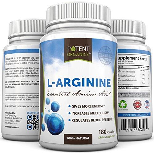 L-Arginine - 180 capsules - acides aminés essentiels - supplément nutritionnel - abaisser la tension artérielle - Support Body Building - Oxyde Nitrique appoint - la synthèse des protéines - Augmenter la guérison - 100% Satisfait ou Remboursé