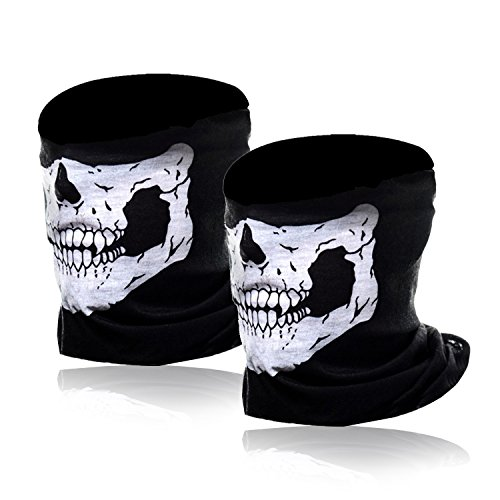 Motorcycle Face Masks 2 Pieces Xpassion Skull Mask Half Face for Out Riding Motorcycle Black from umishi