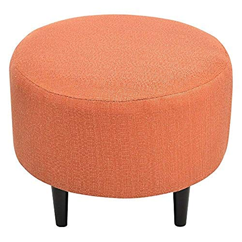 (Sole Designs Candice Series Sophia Collection Round Upholstered Ottoman with Espresso Leg Finish, Orange Pumpkin)