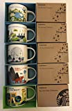 Set of 5: Animal Kingdom+ Magic Kingdom, EPCOT 2, Hollywood Studios, Universal Studios Orlando Resort You Are Here Starbucks 14 Ounce Mugs