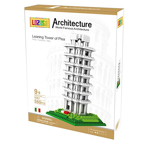 LOZUSA Leaning Tower of Pisa 560 PCS Diamond Block Micro Blocks Architecture Construction Model, Micro-sized Building Set Parent-child Games Building Blocks Children's Educational Toys