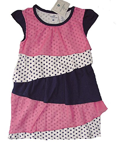 WILLOW BLOSSOM Girl's Size 5 Chiffon Tiered Dot Tulle Pink Blue Dress,