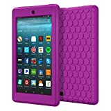 MoKo Case for All-New Amazon Fire 7 2017 (7' Tablet, 7th Generation, 2017 Release Only) - [Honey Comb Series] Light Weight Shock Proof Soft Silicone Back Cover [Kids Friendly] for Fire 7, PURPLE