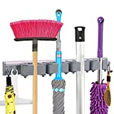 #10: Mop Broom Holder-Broom Wall mounted Hooks- Free Combination Rubber Grip Pole Holder -Garden Tool Rack -Storage Organization Hangers -Mop Hanger with 4 Sliding Grippers and 4 Hooks