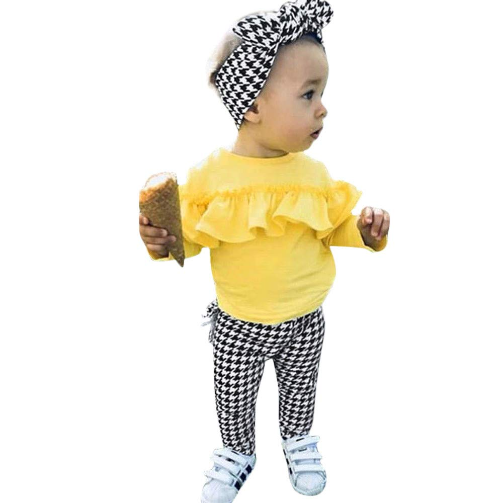 NUWFOR Toddler Baby Long Sleeve Solid Ruffle Tops+Plaid Pants+Headband Outfit Clothes (Yellow,3-4 Years