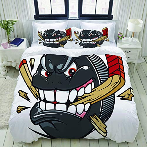 LONSANT Cartoon Hockey Puck Bites and Breaks Hockey Stick Championship Game Mascot Character Home Bedding Decorative Custom Design 16 PC Duvet Cover Set King