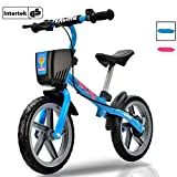 Newbona Kids Balance Bike with No Pedal for Ages 3 to 6 Years – Balance Bicycle with Brakes and Bells and Basket for Toddlers and Kids Learn to Ride Pre Bike