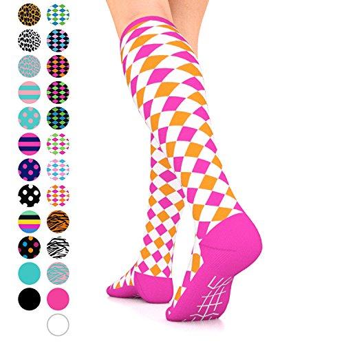 Go2Socks GO2 Compression Socks for Women Men Nurses Runners 15-20 mmHg (Medium) - Medical Stocking Maternity Travel - Best Performance Recovery Circulation Stamina (HarlWhitePinkOrange,M)