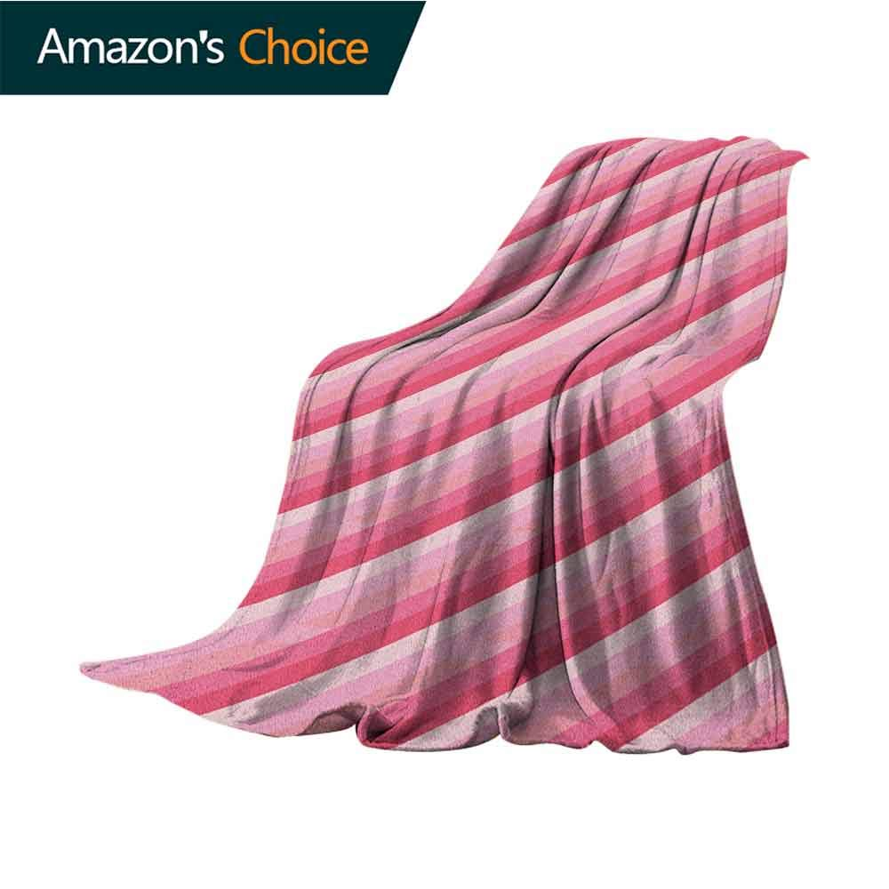 Peach Wearable Blanket,Old School Vintage Diagonal Lines Patterns Vibrant Colored Image Abstract Design Microfiber All Season Blanket for Bed or Couch Multicolor,30'' Wx50 L Pink Peach