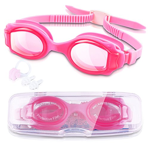 GKCI Kids Swimming Goggles, Waterproof Swim Goggles With Clear Vision for Children and Early Teens (Age 4-12), Anti-Fog Lenses, Waterproof, UV Protection, No Leak And Strap (Pink)