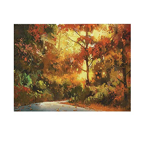 Fantasy Art House Decor Photography Background,Pathway in Autumn Forest with Shady Leaf of Deciduous Trees View Backdrop for Studio,20x10ft ()