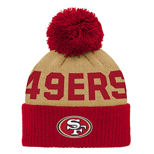 Outerstuff NFL Baby Jacquard Cuffed Knit Hat with Pom, Crimson, Infant One Size