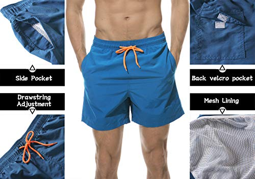 476aaa317b DoSmart Mens Swim Trunks Quick Dry Breathable Sports Surf Beach Board  Shorts Mesh Lining (Peacock