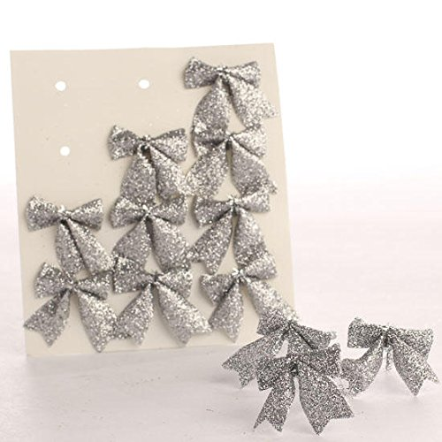 Package of 48 Tiny Silver Glittery Plastic Bow Tie Ons for Tree Trim, Package Embellishing and Decorating
