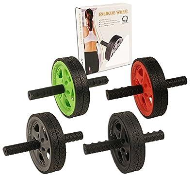 Da Vinci Dual Wheel Ab Roller - Best Abdominal Rollout Exercise Equipment with Anti Slip Foam Grips & Double Wheels