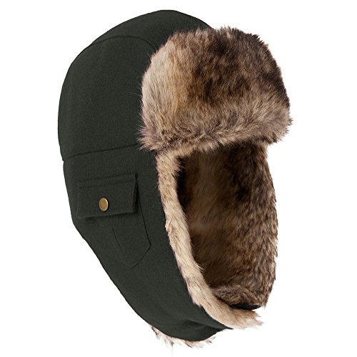 IGGI Unisex Earflaps Trapper Hat Faux Fur Hunting Hat Fleece Lined Thick Plaid,Large,88113_black (Lined Aviator)