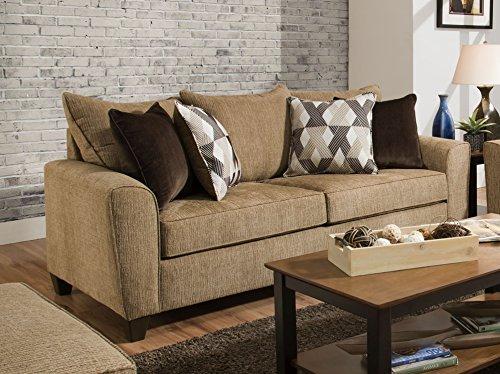 Fabric Sofa Tan - Simmons Upholstery 9096-03 Reed Tan Sofa,