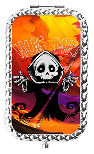 IMLONE Rectangle Silvery Cartoon Reaper Compact Purse Mirror with 2X Magnification, Portable Folding Makeup Mirror, Great Choice and Best Gift for You and Your Friend]()
