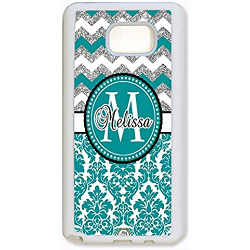 ArtsyCase Teal Damask Silver Chevron Monogram Personalized Name Phone Case - Samsung Galaxy S7 Edge (White) Sales