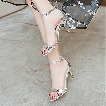 9018833f03c1c9 LGK FA Summer Women S Sandals Xia Gaogen Sandals Girl Heel Heel Toe Heel  Heel 34 Silvery