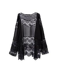 WAYLONGPLUS Womens Bikini Cover Up Kimono Cardigan Lace Black