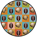 Printing Round Rug,Football,ColorfulSquares Mosaic Pattern with Protective Helmets and Balls College Activity Decorative Mat Non-Slip Soft Entrance Mat Door Floor Rug Area Rug For Chair Living Room,Mu