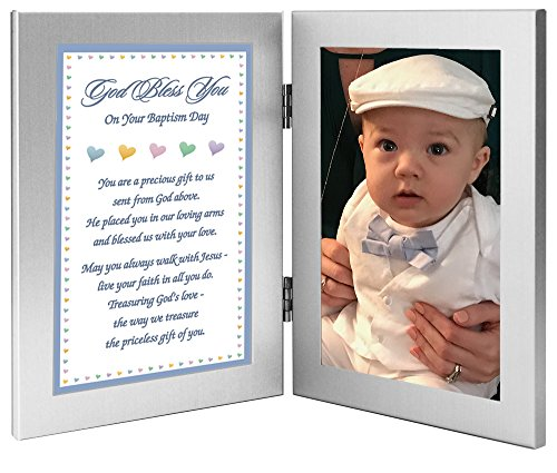 Baptism Gift for Baby Boy - Add Photo to Double Frame (Boy God Frame Baby)