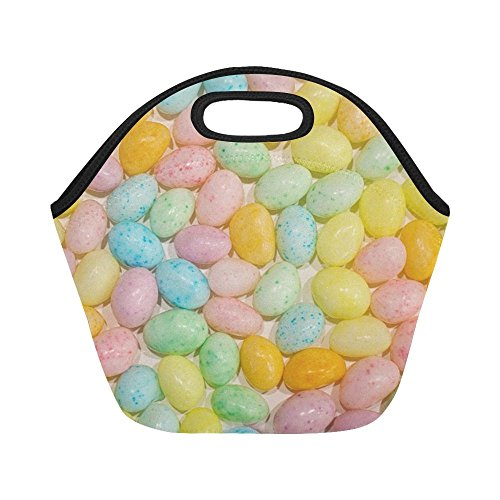 Insulated Neoprene Lunch Bag Easter Jelly Beans Candy Pastel
