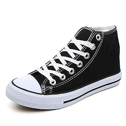 TTSHOES Mujer Zapatos Tela Primavera/Otoño Suelas con Luz Zapatillas De Deporte Tacón Plano Dedo