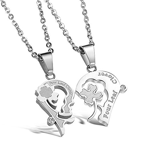 JewelBeauty His&Hers Stainless Steel Four Leaf Lucky Clover Key and Lock Couple Pendant Necklace (Heart Shape-Silver Clover Leaf)