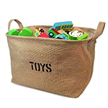 Organizing Baskets for Toy Storage - Storage Baskets, Eco-Friendly Jute. Works as Fabric Drawer, Baby Storage, Toy Storage. High Quality Nursery Baskets fit most shelves - by OrganizerLogic