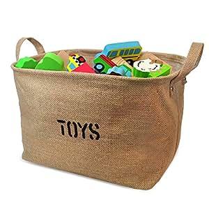 OrganizerLogic Storage Bin - 14 x 10.5 x 9.5 - Medium Basket - Jute Basket for Organizing Toys, Laundry, Clothes, Baby Nursery, Kids Rooms, Toy Box