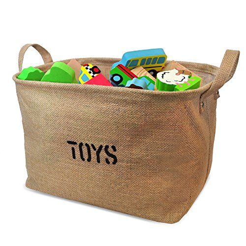 Jute Stackable (Jute Storage Bin for Toy Storage, Medium Size 14x10.5x9