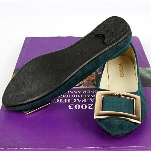 LvYuan Mujeres / Piso / Suede / Oficina & Carrera / talón plano / Comfort Outdoor Casual fashion / Mocasines y Slip-Ons / Walking zapatos perezoso Dark Green