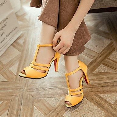 LFNLYX Sandalias de mujer zapatos Club Verano comodidad del Tobillo PU boda vestido de noche y Stiletto talón hebilla Amarillo Negro Rojo Blanco caminando White